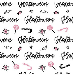 halloween seamless pattern hand drawn with vector image