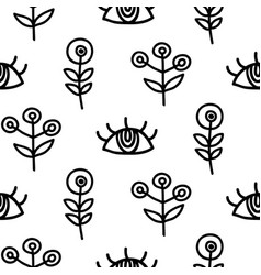 Hand drawn eyes and scandinavian plants vector