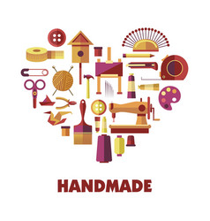 Handmade products creation special tools in heart vector
