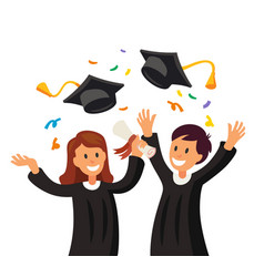 Happy girl and boy throwing their graduation hats vector