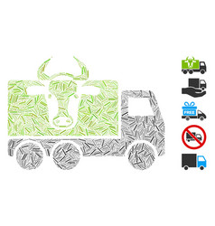Hatch collage cow transportation vector