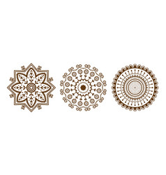 Henna tattoo brown mehndi flower template doodle vector