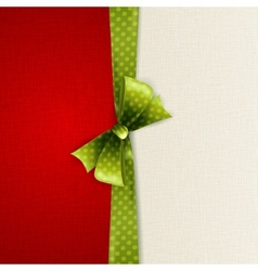 Holiday background with green polka dots bow vector