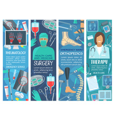 hospital and clinic banners with medical tools vector image