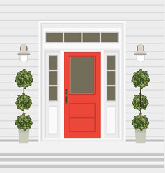 House door front with doorstep and steps window vector