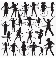 hula hoop silhouettes vector image