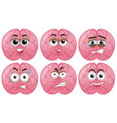 Human brain with different facial emotions vector