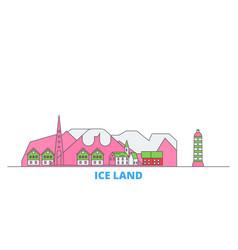 Iceland line cityscape flat travel city vector