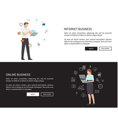 internet online business set vector image