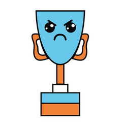 Kawaii cute angry prize cup vector