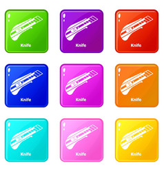 knife icons set 9 color collection vector image
