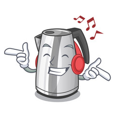 listening music kitchen electric kettle on a vector image
