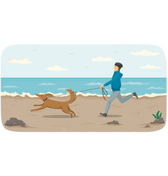 male character running after puppy on leash vector image