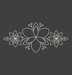 Minimalism linear flower border on dark grey vector