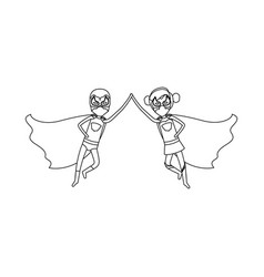 Monochrome contour faceless of duo of superheroes vector