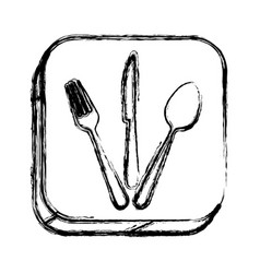 Monochrome sketch of square button with cutlery vector