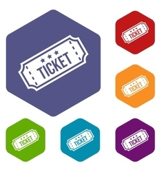 Movie ticket icons set vector