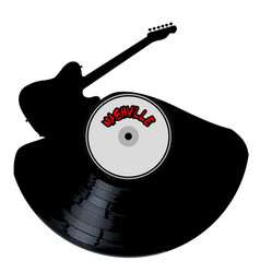 Nashville country music silhouette record vector