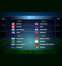 north america soccer cup groups vector image