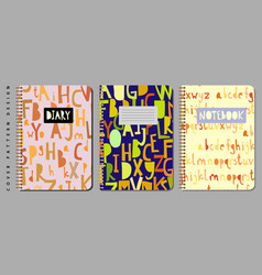 notebook and diary cover design for print with vector image