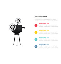 old retro film recorder infographics template vector image