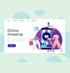 online shopping landing internet purchasing and vector image