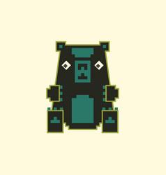 Pixel art toy bear vector