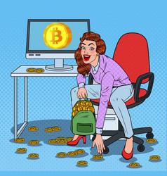 pop art woman miner put bitcoins in backpack vector image