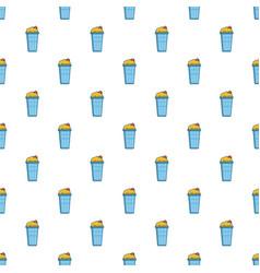 Popcorn in a blue bucket pattern vector