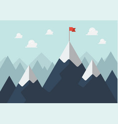 red flag on a mountain peak success concept vector image