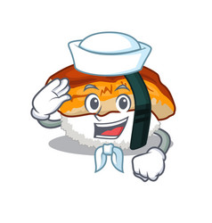Sailor unagi sushi served above mascot plate vector