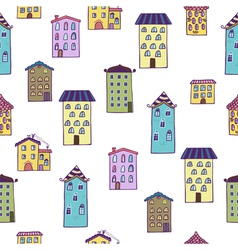 Seamless background with houses Home sweet home vector image