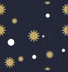 seamless chaotic pattern of golden snowflakes and vector image
