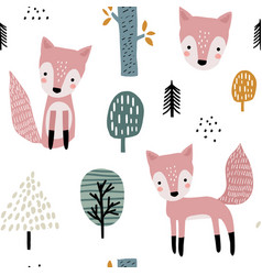 seamless woodland pattern with cute foxes and hand vector image