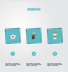 Set of coffee icons flat style symbols with mocha vector