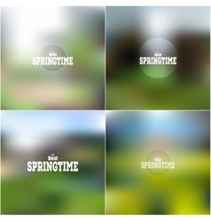 Set of spring time posters web and mobile vector