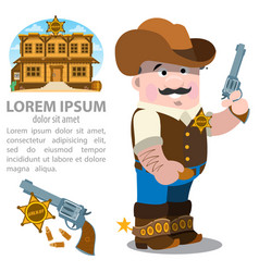 sheriff man with a pistol in suit of the 19th vector image