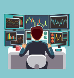 Stock market trader looking at multiple computer vector