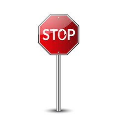 stop traffic road sign prohibited red road sign vector image