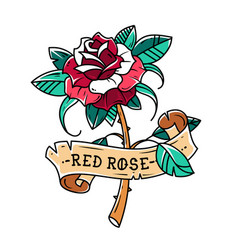 Tattoo red rose with ribbon passion love vector