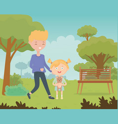teen and little girl with teddy in park kids vector image