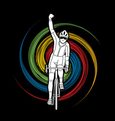 the winner bicycle riding front view vector image