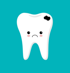 tooth with caries icon cute tooth characters vector image