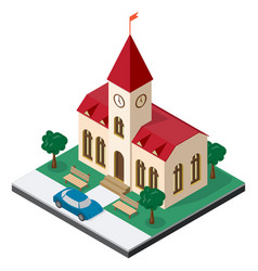 Town hall building with benches trees and car in vector