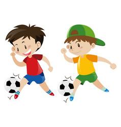 Two boys playing football vector