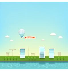 Urban landscape on seashore background vector
