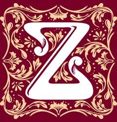 vintage letter Z vector image