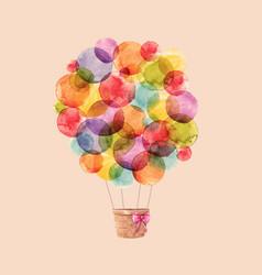 Watercolor rainbow air balloons vector