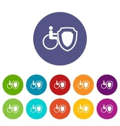 Wheelchair and safety shield set icons vector image