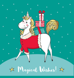 winter card with cute unicorn-santa and gifts vector image